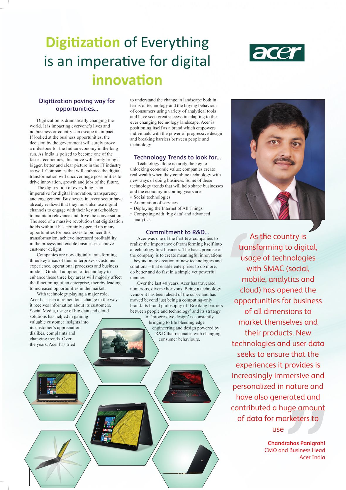 Acer India : Digitization of Everything is an imperative for digital innovation