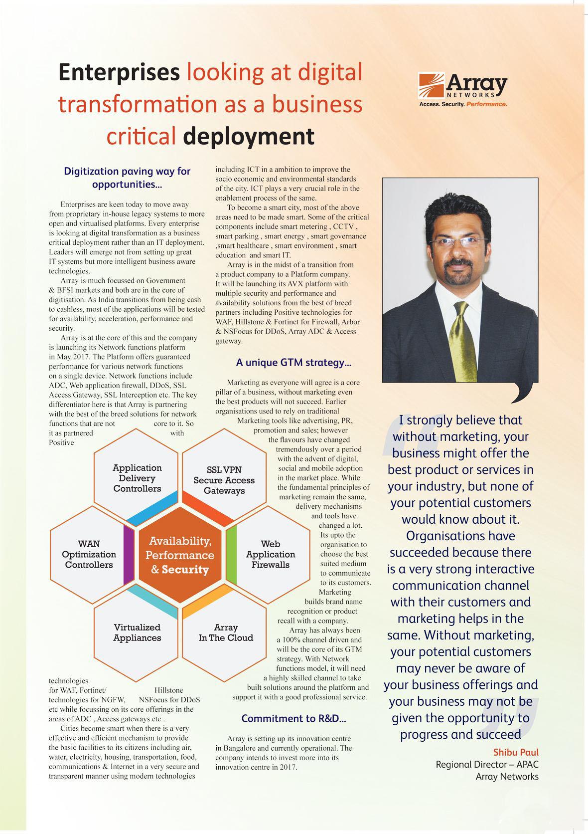 ARRAY : Enterprises looking at digital transformation as a business critical deployment