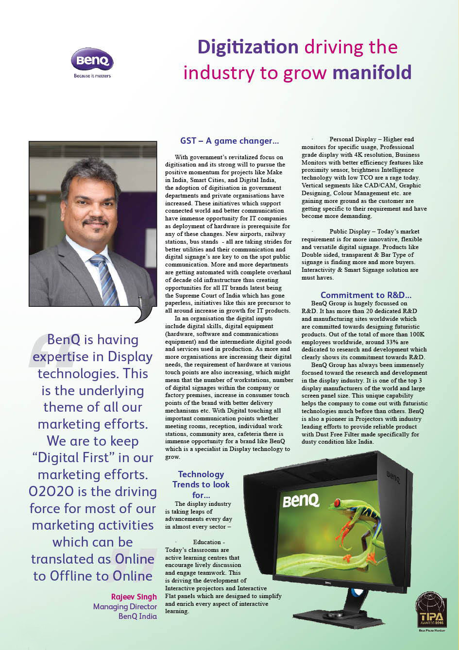 Benq: Digitization driving the industry to grow manifold