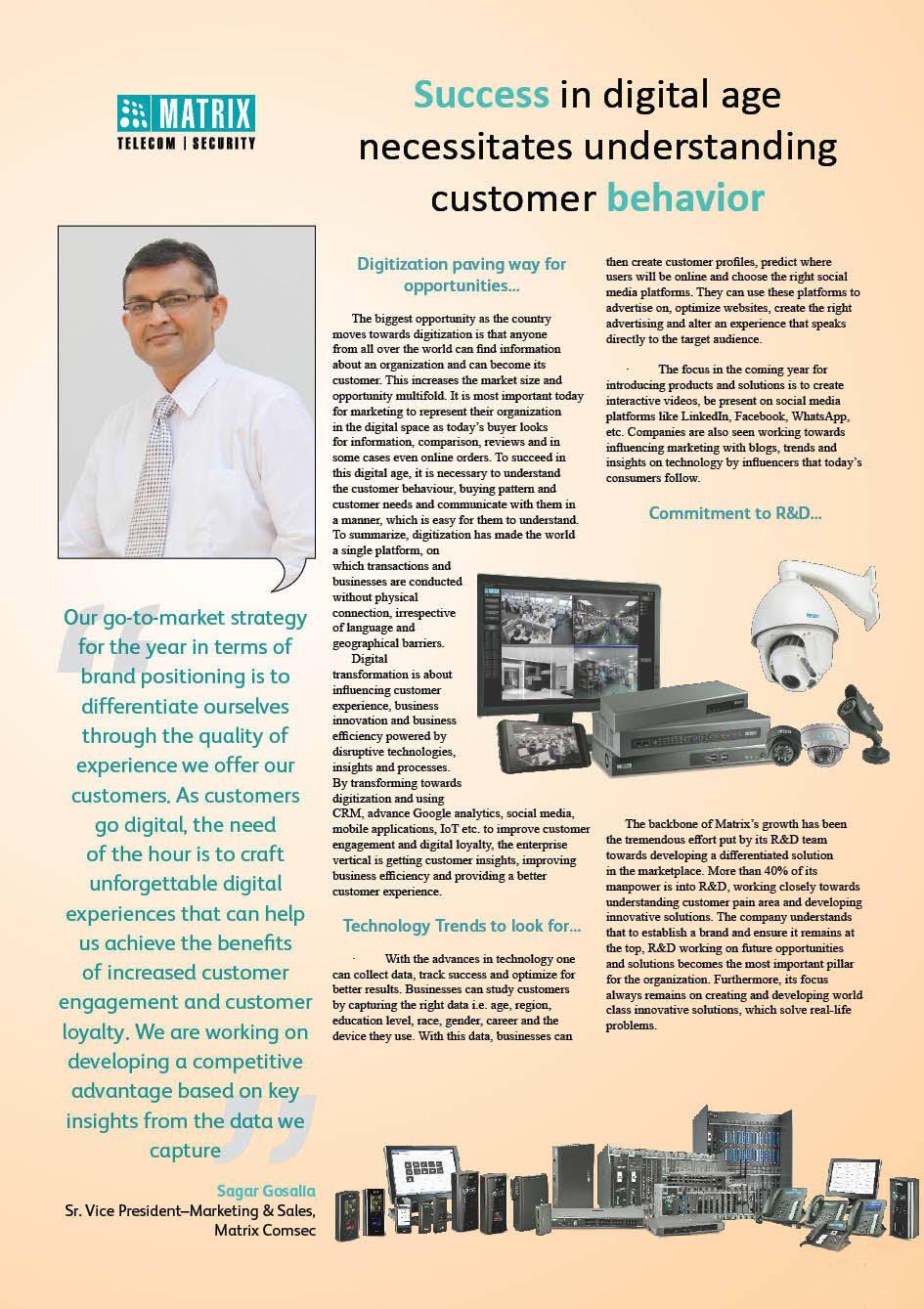 Matrix Comsec : Success in digital age necessitates understanding customer behavior