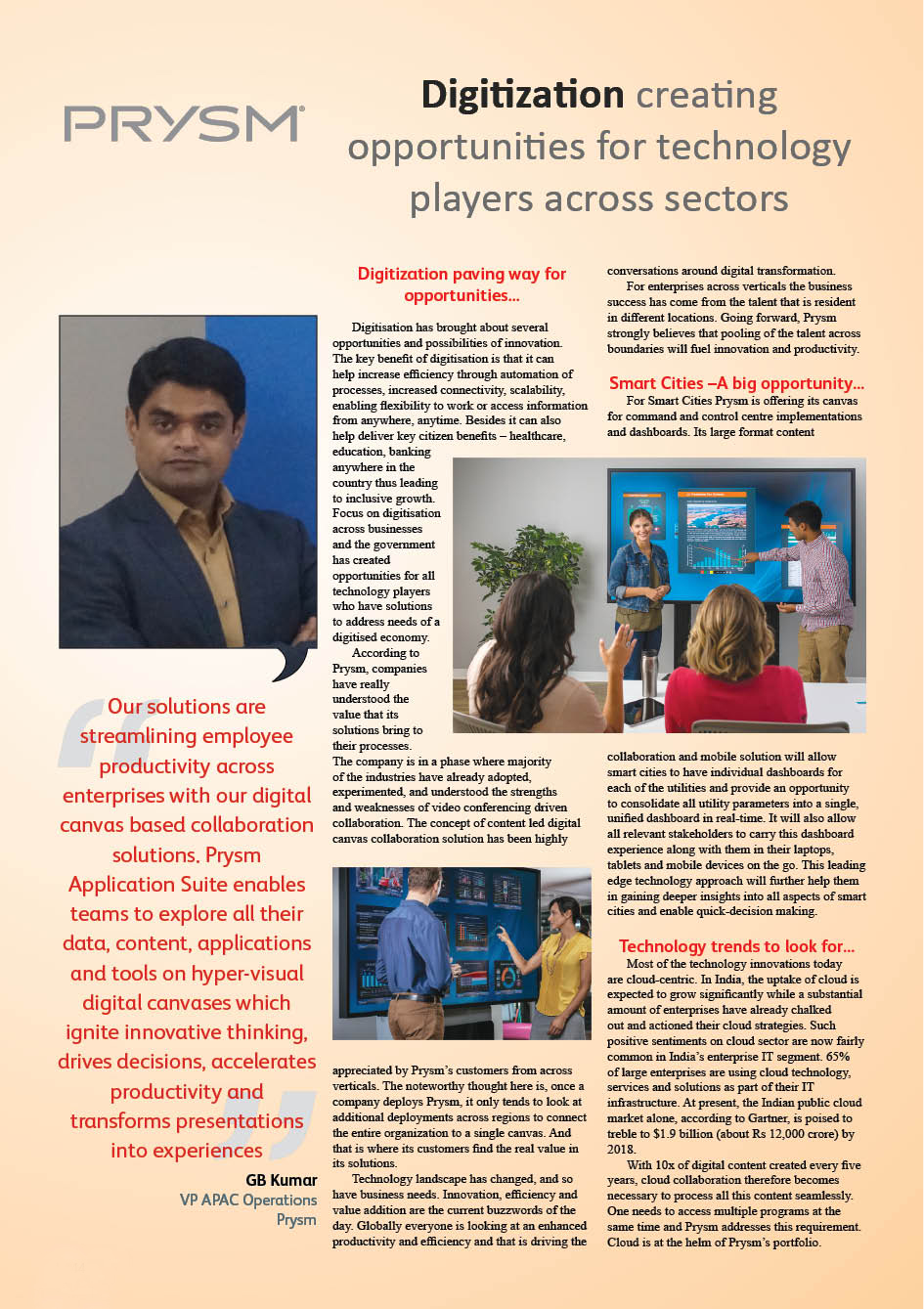 Prysm: Digitization creating opportunities for technology players across sectors