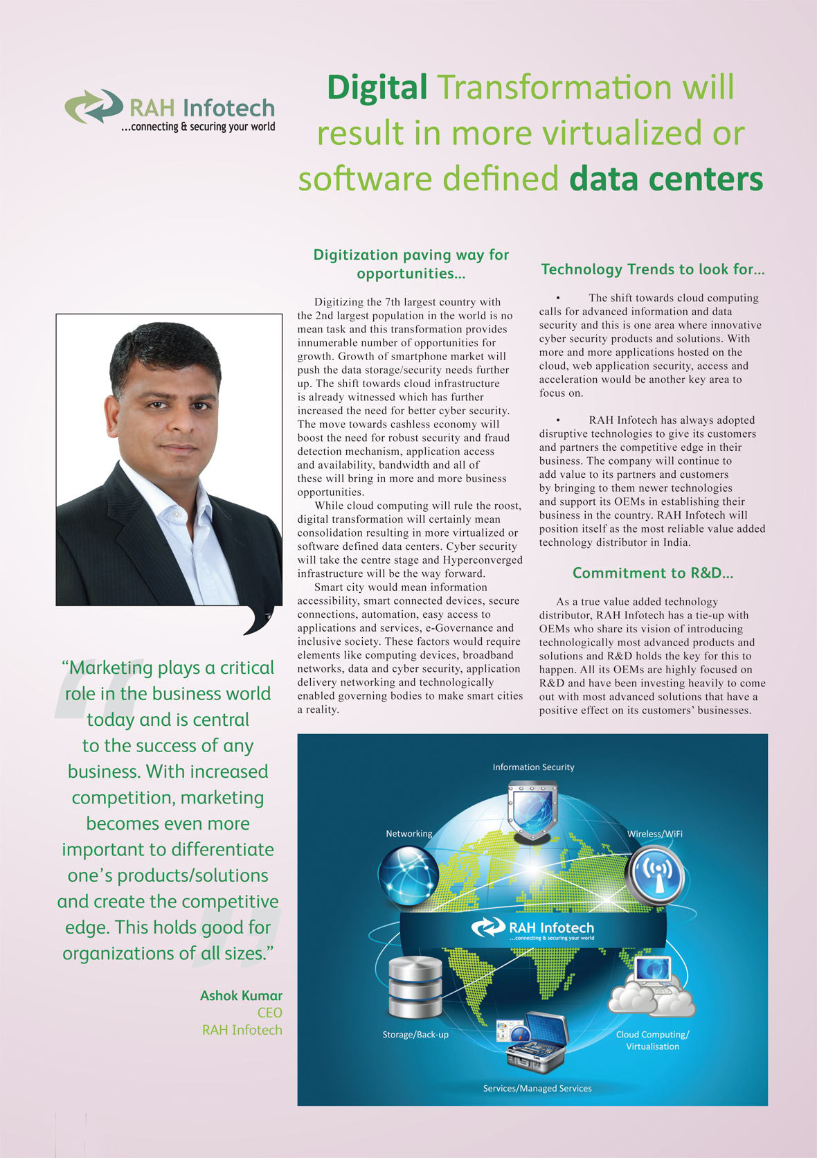 RAH Infotech : Digital Transformation will result in more virtualized or software defined data centers