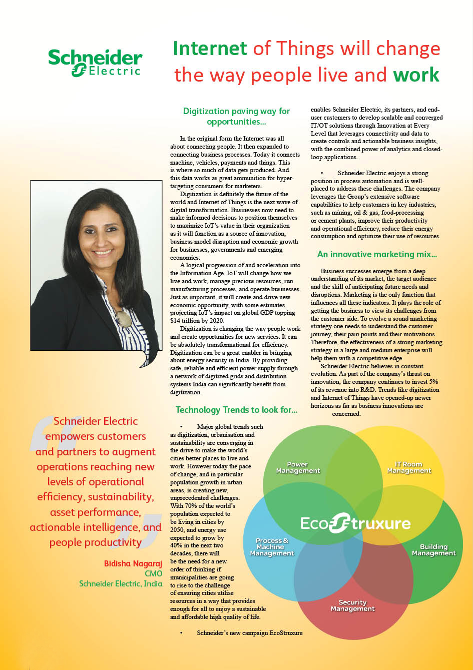 Schneider Electric India : Internet of Things will change the way people live and work