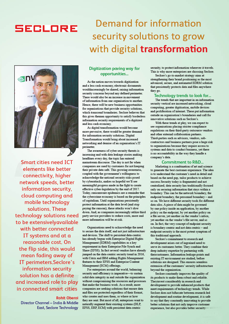 Seclore Technology : Demand for information security solutions to grow with digital transformation