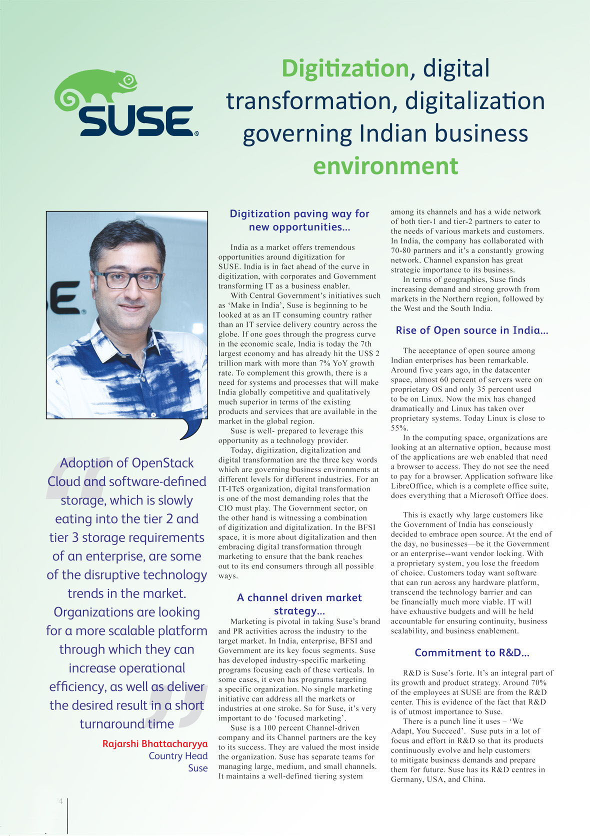 SUSE  : Digitization, digital transformation, digitalization governing Indian business environment