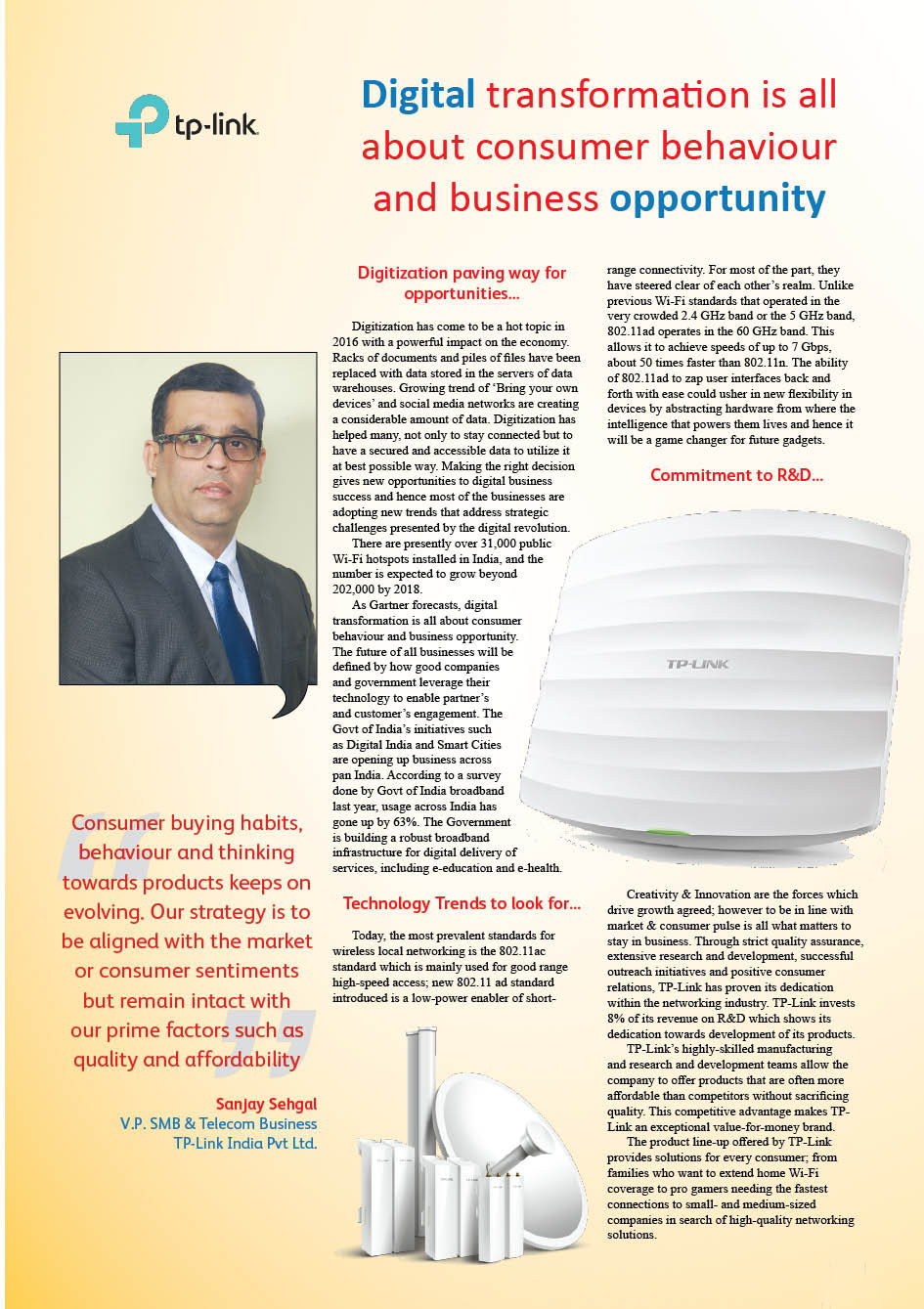 TP-Link India Pvt Ltd.  : Digital transformation is all about consumer behaviour and business opportunity