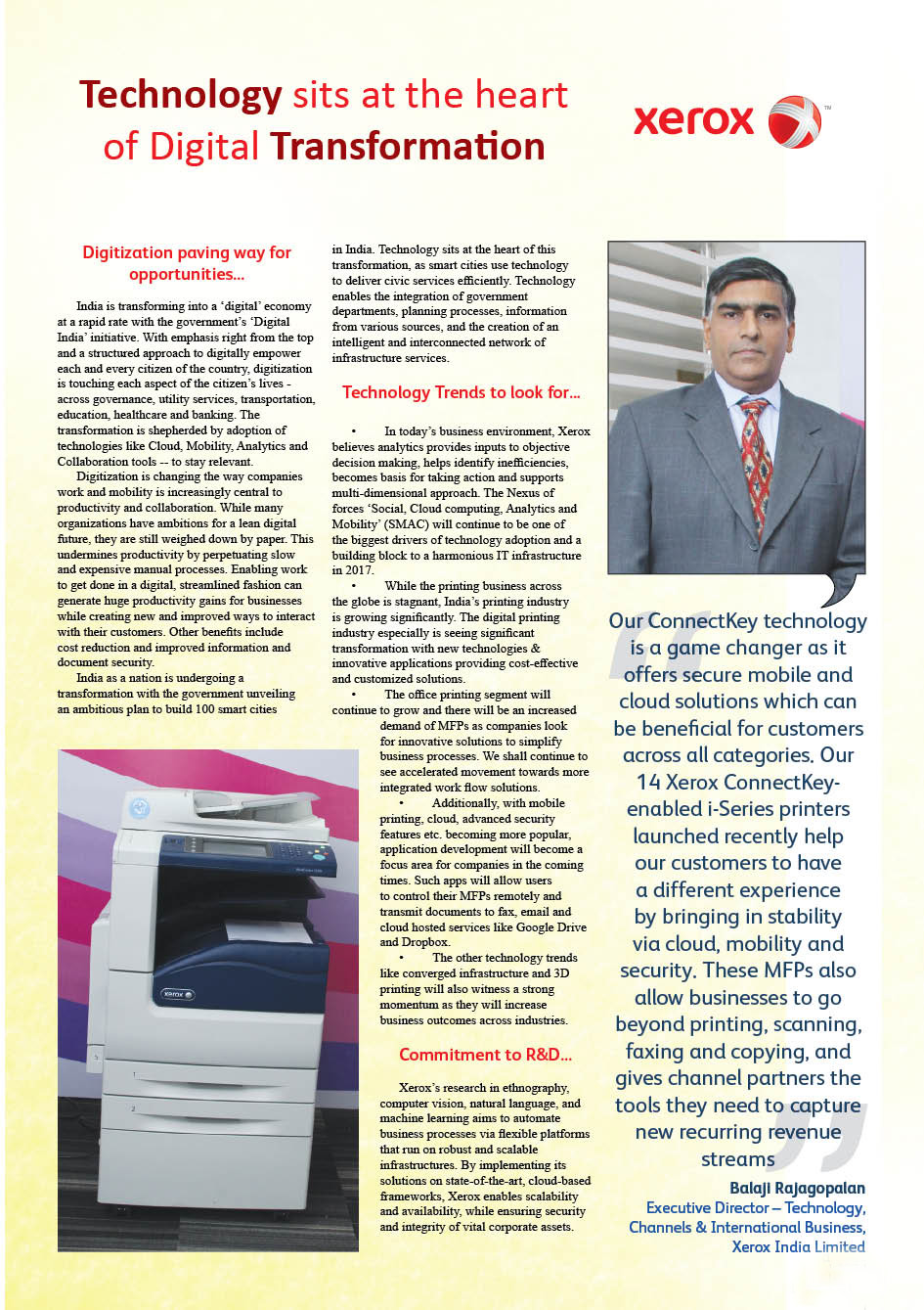 XEROX INDIA PVT. LTD. : Technology sits at the heart of Digital Transformation